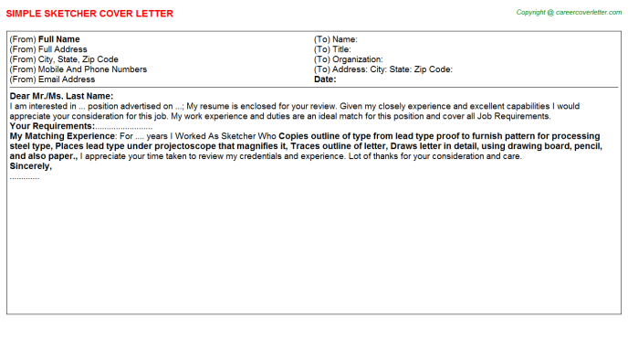 Sketcher Cover Letter Template