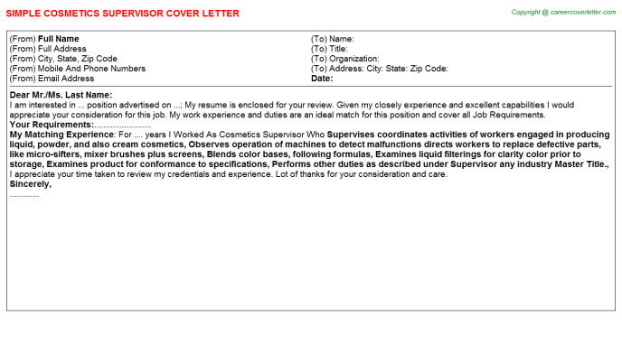 cosmetics supervisor cover letter template