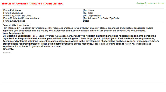Management Analyst Cover Letter Template