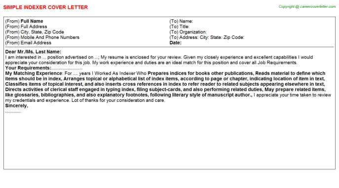 Indexer Cover Letter Template