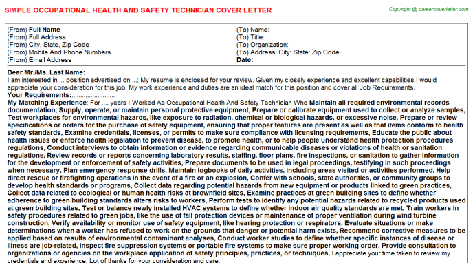Occupational Health And Safety Technician Job Cover Letter
