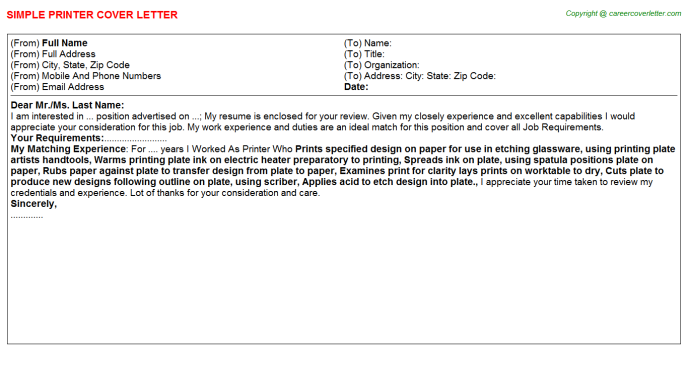 Printer Cover Letter Template