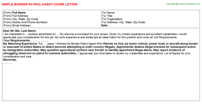 Border Patrol Agent Job Cover Letter