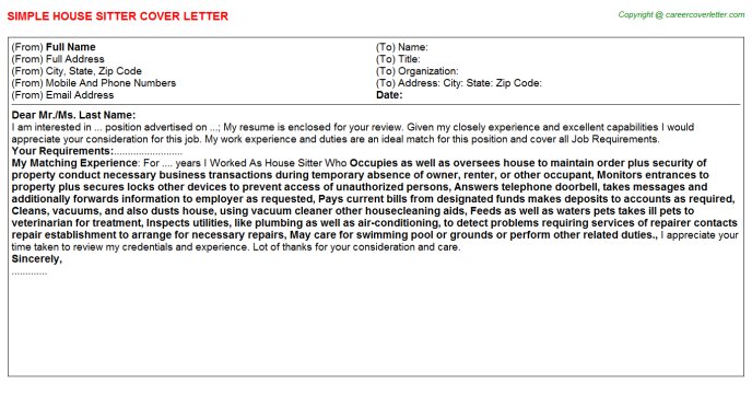 House Sitter Cover Letter Template