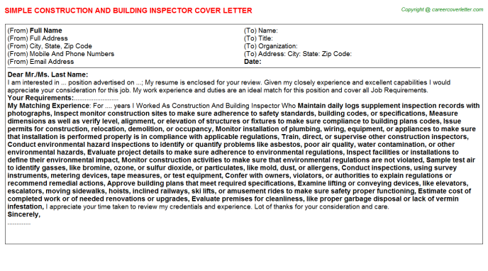 construction and building inspector job cover letter