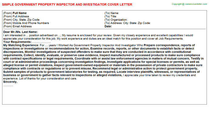 Government Property Inspector And Investigator Job Cover Letter