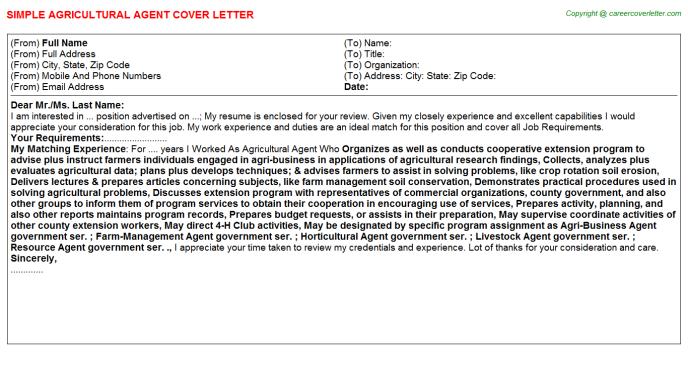 Agricultural Agent Cover Letter Template
