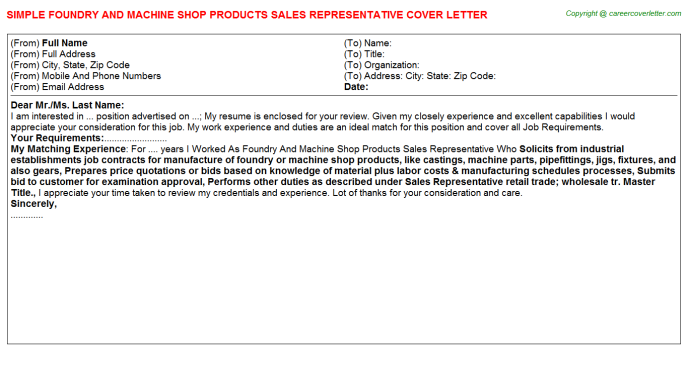 Shop Foreman Cover Letters | Job Cover Letters