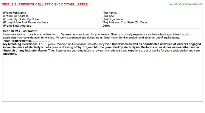 supervisor cell efficiency cover letter template