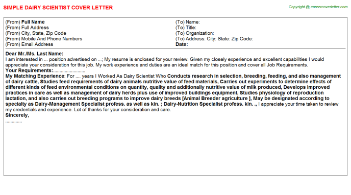 Dairy Scientist Cover Letter Template