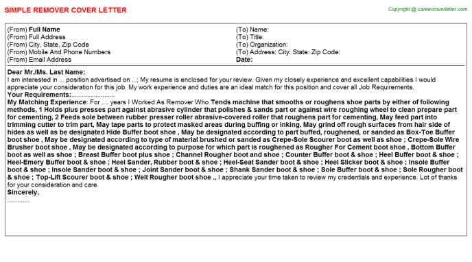 Remover Job Cover Letter Template
