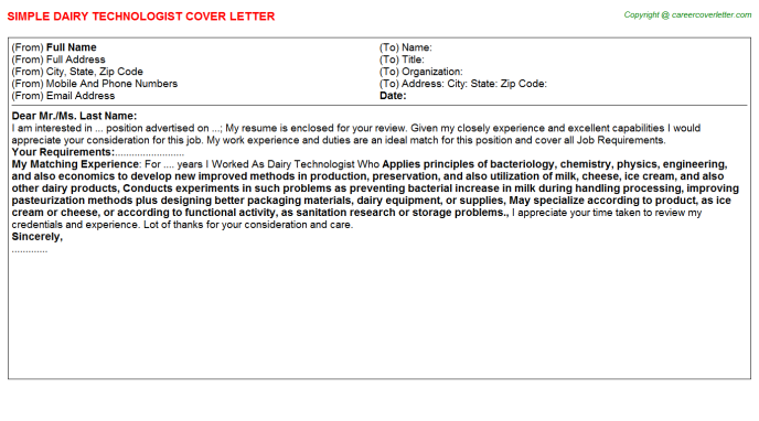 Dairy Technologist Cover Letter Template