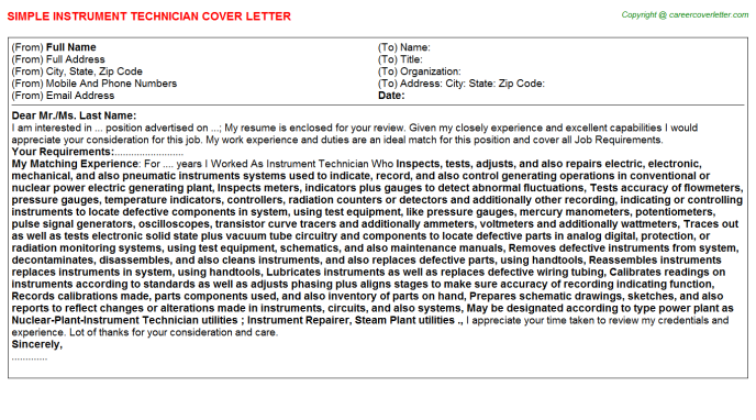 Instrument Technician Job Cover Letter Example