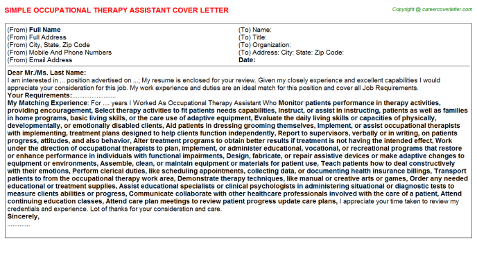 Occupational Therapy Assistant Cover Letter Template SAMPLE OCCUPATIONAL