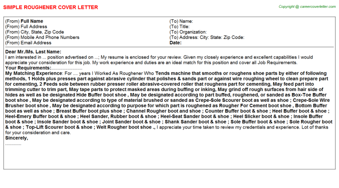 Roughener Cover Letter Template