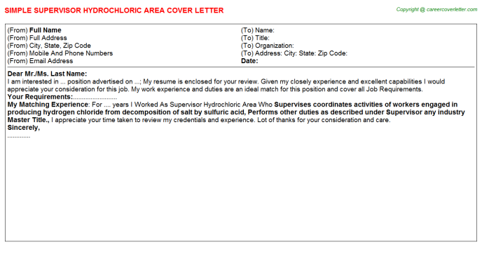 supervisor hydrochloric area cover letter template
