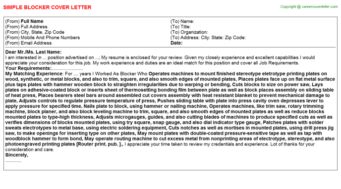 Blocker Job Cover Letter Template