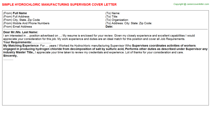 hydrochloric manufacturing supervisor cover letter template