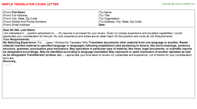 Translator Job Cover Letter Template