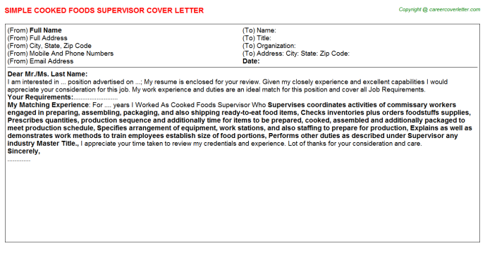 cooked foods supervisor cover letter template