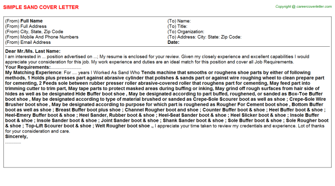 Sand Job Cover Letter Template
