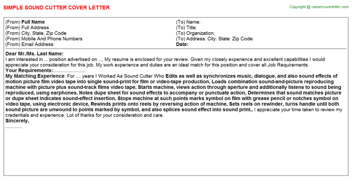 Sound Cutter Cover Letter Template