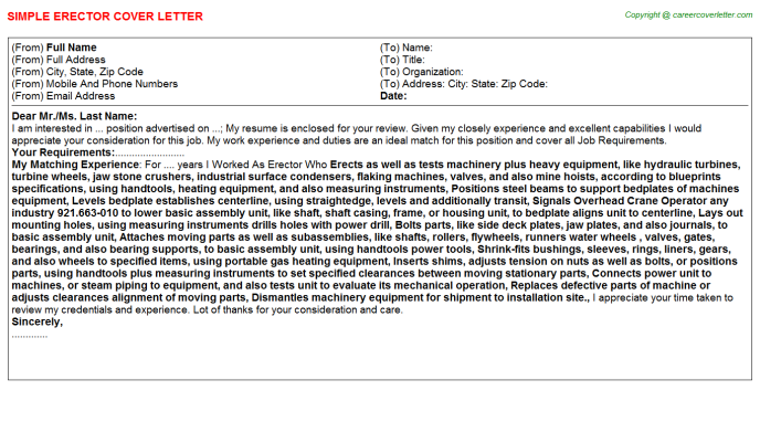 Erector Cover Letter Template