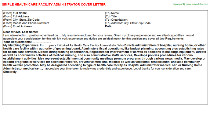 health care facility administrator cover letter template