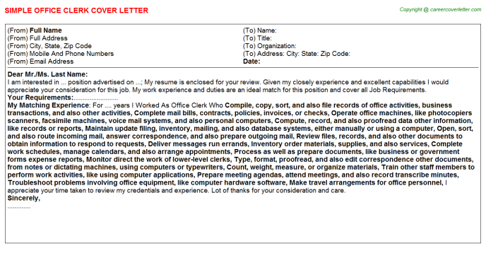 Office Clerk Cover Letter Template