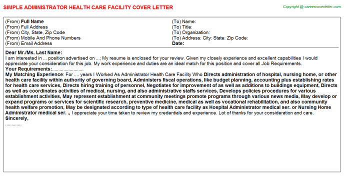 Administrator Health Care Facility Cover Letter Template