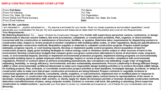 Construction Manager Cover Letter Template