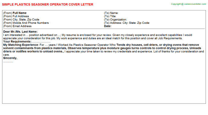 plastics seasoner operator cover letter template