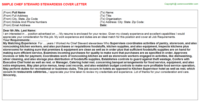 Chief Steward Stewardess Job Cover Letter | Job Cover Letters