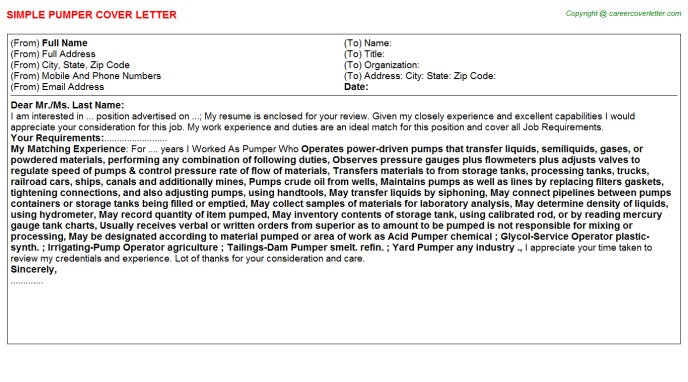 Pumper Cover Letter Template
