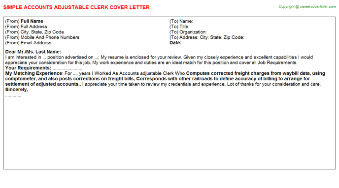 Accounts Adjustable Clerk Cover Letter Template