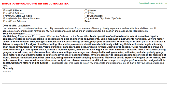 Outboard Motor Tester Job Cover Letter
