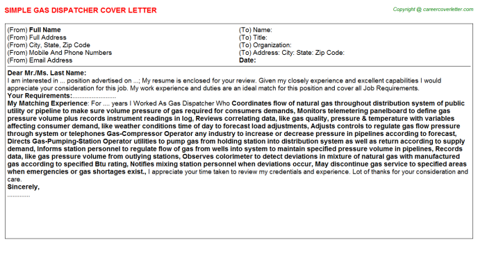 Gas Dispatcher Cover Letter Template