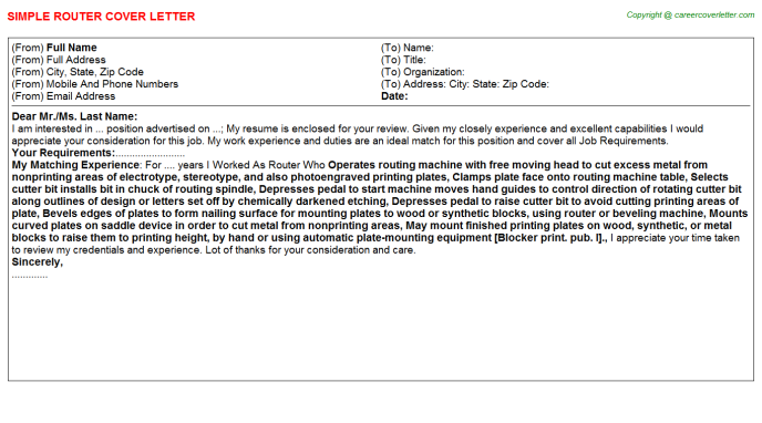 Router Cover Letter Template