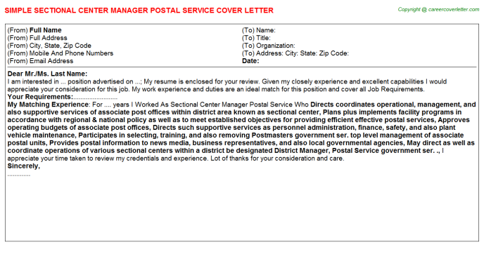 Sectional Center Manager Postal Service Job Templates