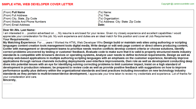 Html Web Developer Job Cover Letter