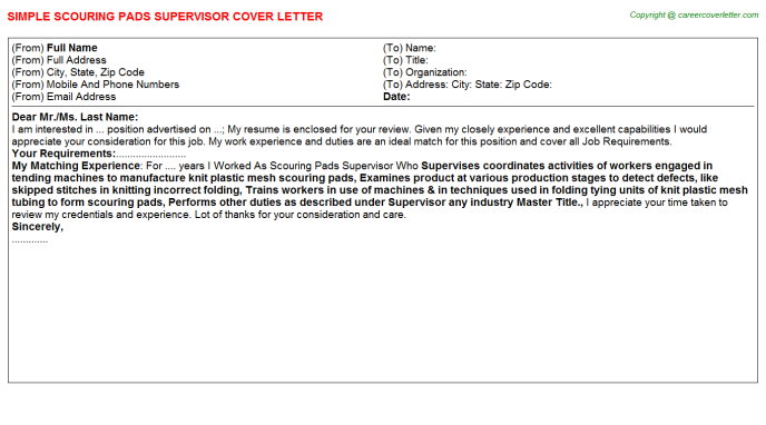 Scouring Pads Supervisor Job Cover Letter Template