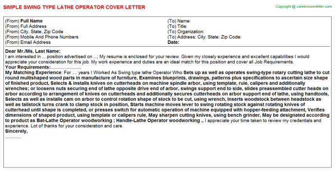 Swing type lathe Operator Cover Letter Template