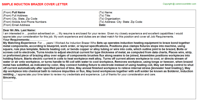 Induction Brazer Cover Letter