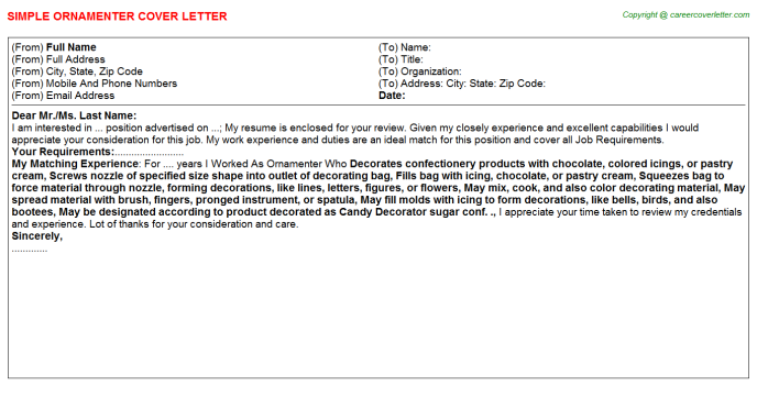 Ornamenter Job Cover Letter Template