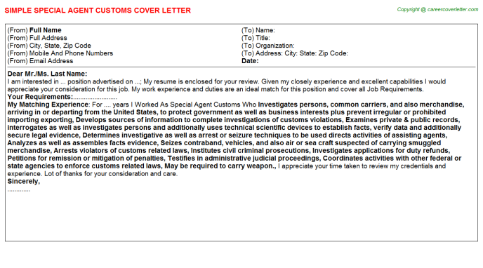 Special Agent Customs Cover Letter Template