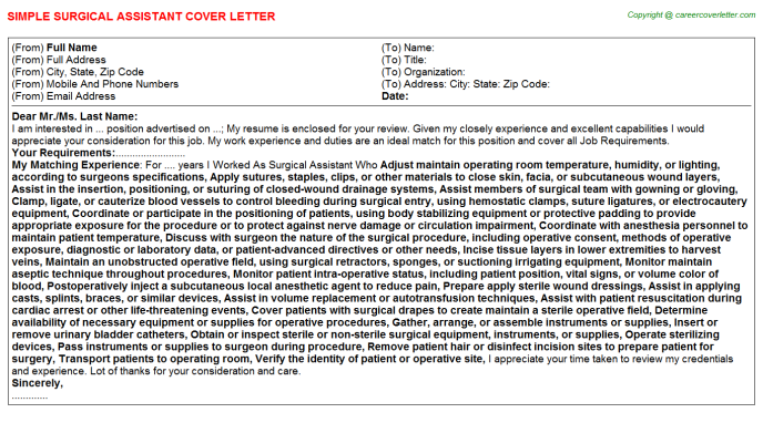 Surgical Assistant Job Cover Letter
