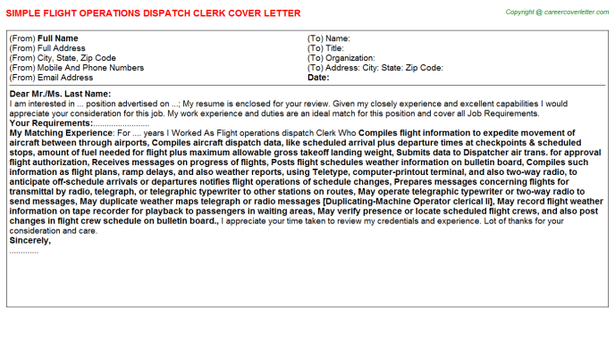 Flight Operations Dispatch Clerk Job Cover Letter | Job Cover Letters