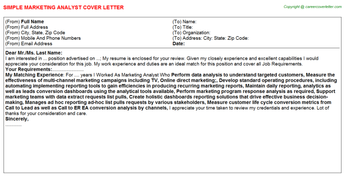 Marketing Analyst Cover Letter Template