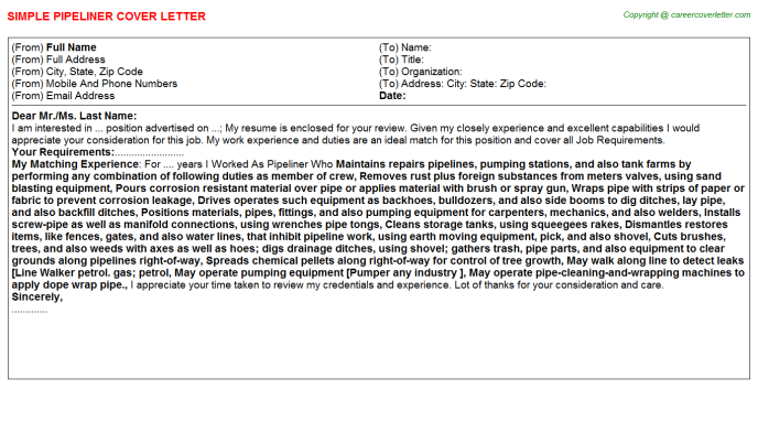 Pipeliner Cover Letter Template