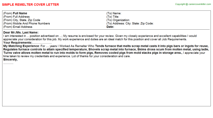 Remelter Cover Letter Template
